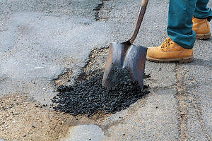 Road construction. New asphalt concrete,