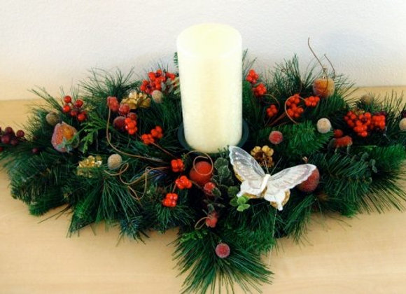 Christmas Cream & Reds Table Arrangement