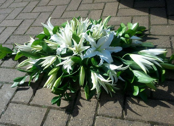White Lily Oasis Coffin Spray