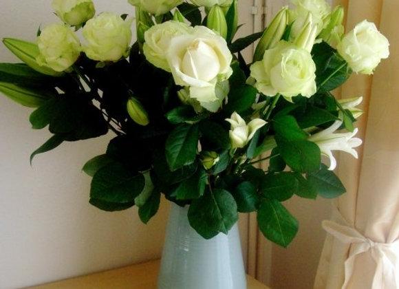 White Roses Vase Arrangement