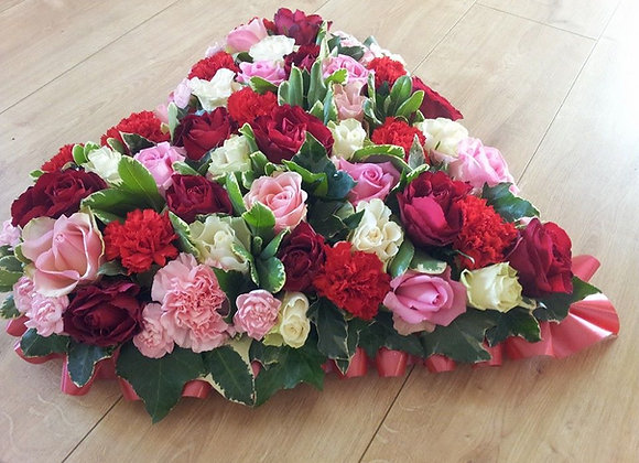 Red, Pink & Cream Massed Heart