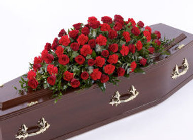 Red Rose & Carnation Coffin Spray