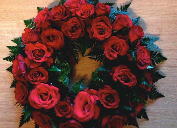 Red Rose Open Wreath