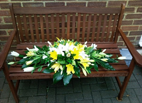 Yellow & White Lily Coffin Spray