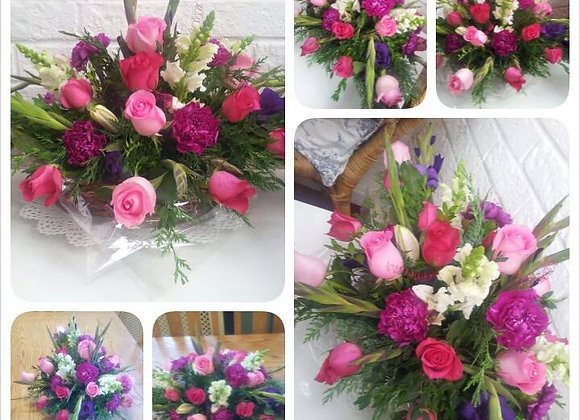 Bright Pinks Basket Arrangement