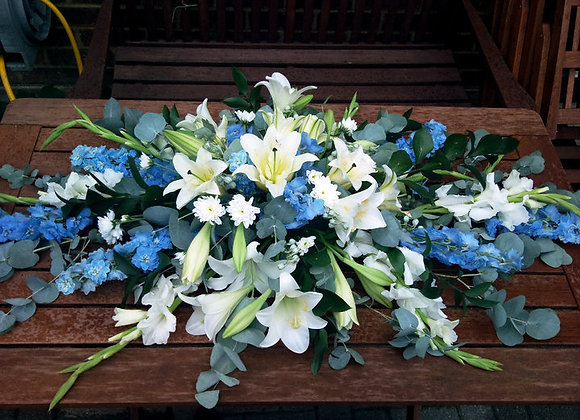 Blue & White Coffin Spray