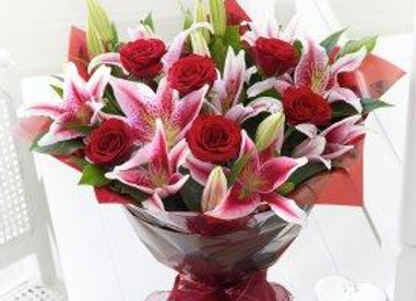 Red Roses & Pink Lily