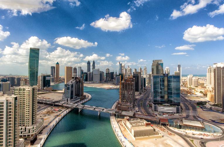 Downtown Dubai and City River, UAE