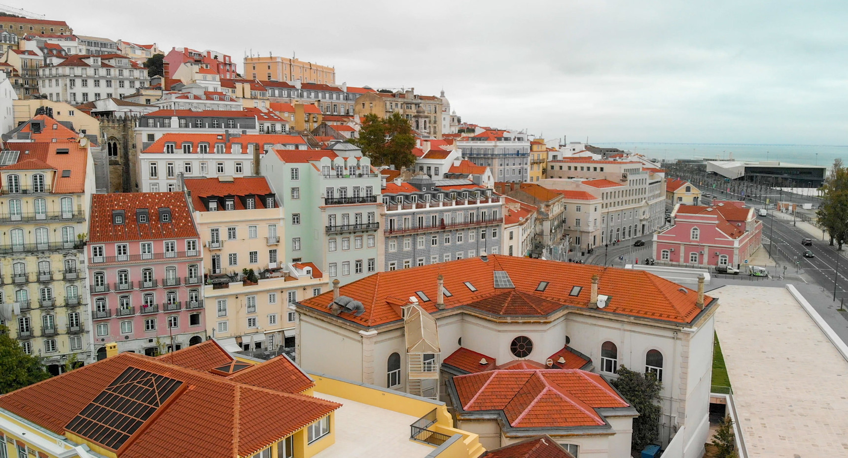 Aerial view of old city buildings