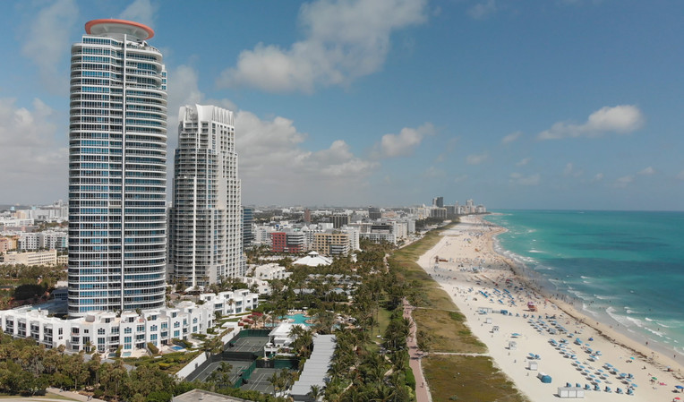 Aerial view of Miami Beach and city skyline, Florida
