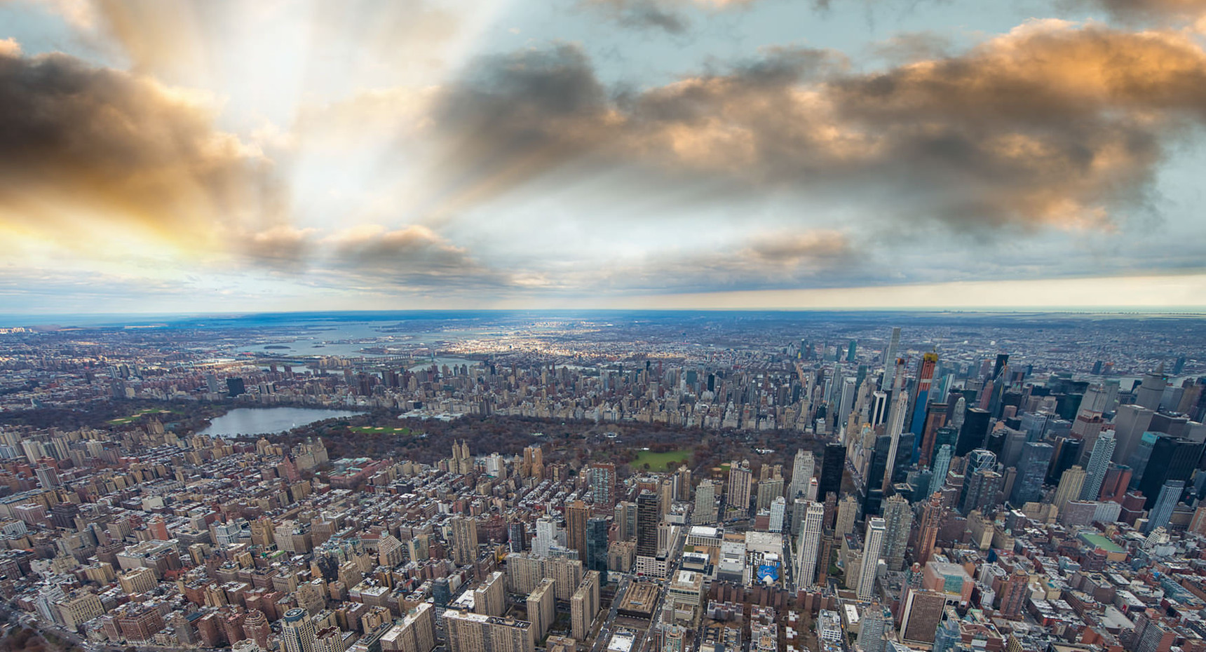 Helicopter view of Manhattan