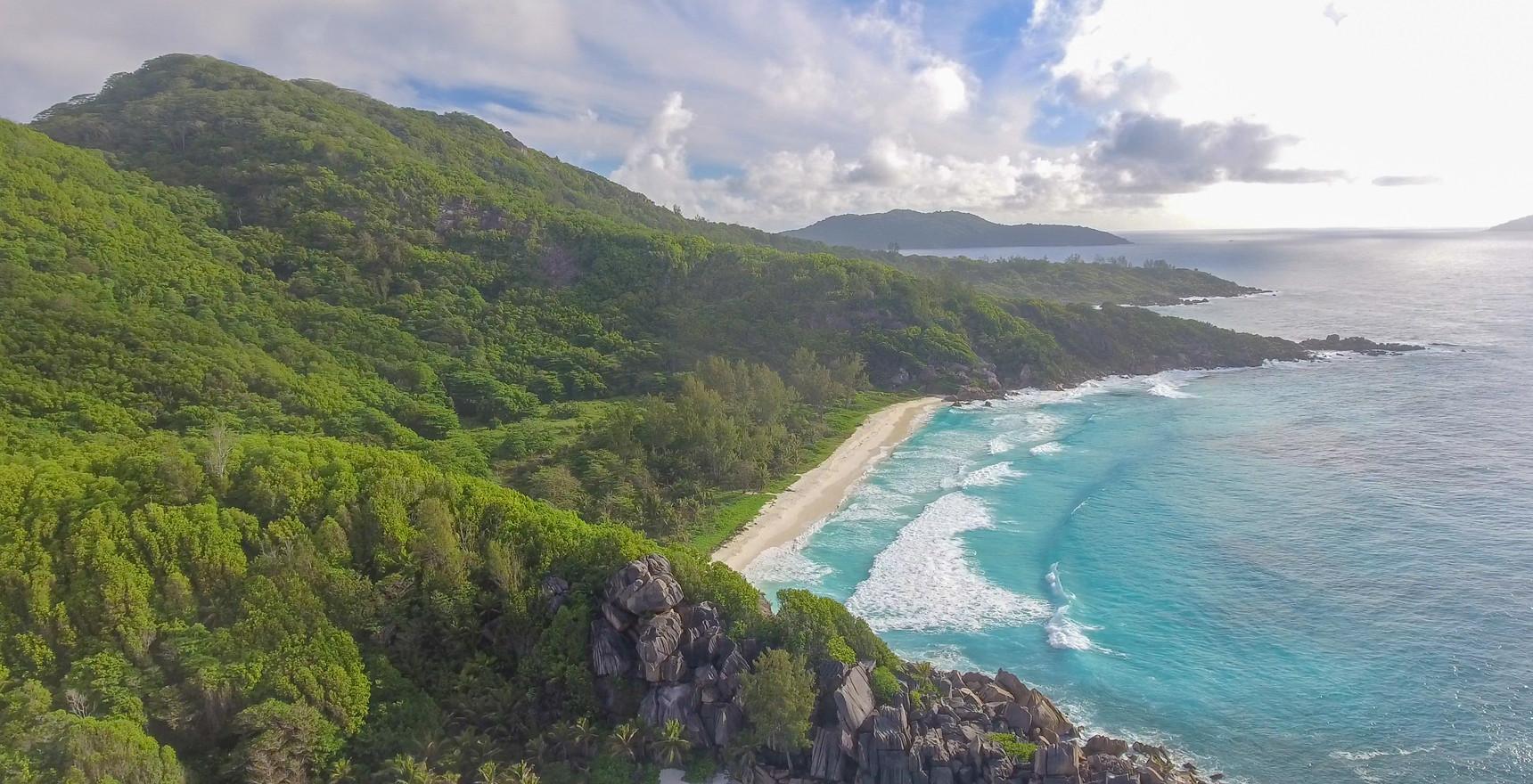 Aerial view of La Digue coastline, Seychelles