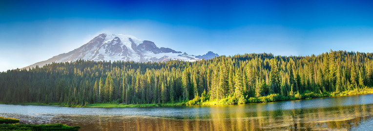 Mount Rainier with Forest and Lake, Washington