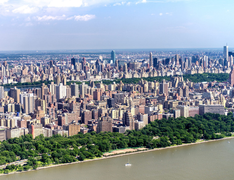 Helicopter view of Manhattan and Hudson River