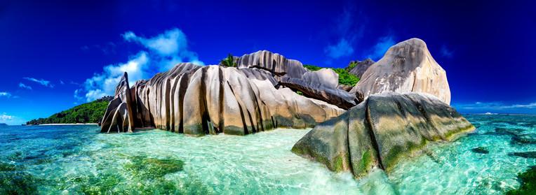 La Digue rocks and ocean, Seychelles