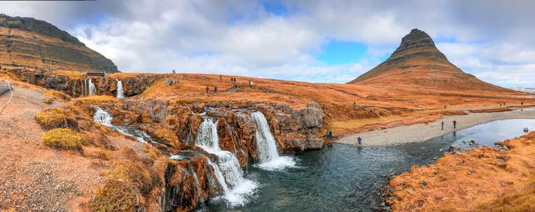 Kirkjufellfoss Waterfalls and Mountain in autumn season, Iceland