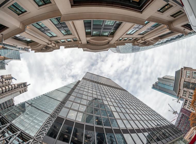 London City buildings skyward view
