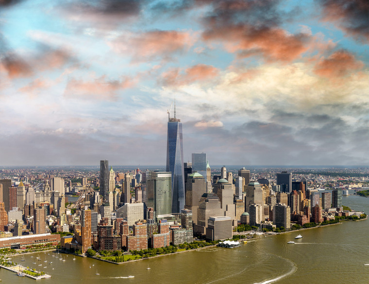 Helicopter view of Midtown Manhattan at sunset