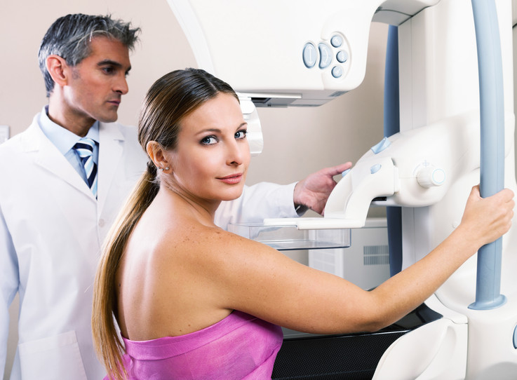 Woman undergoing mammography test in hospital
