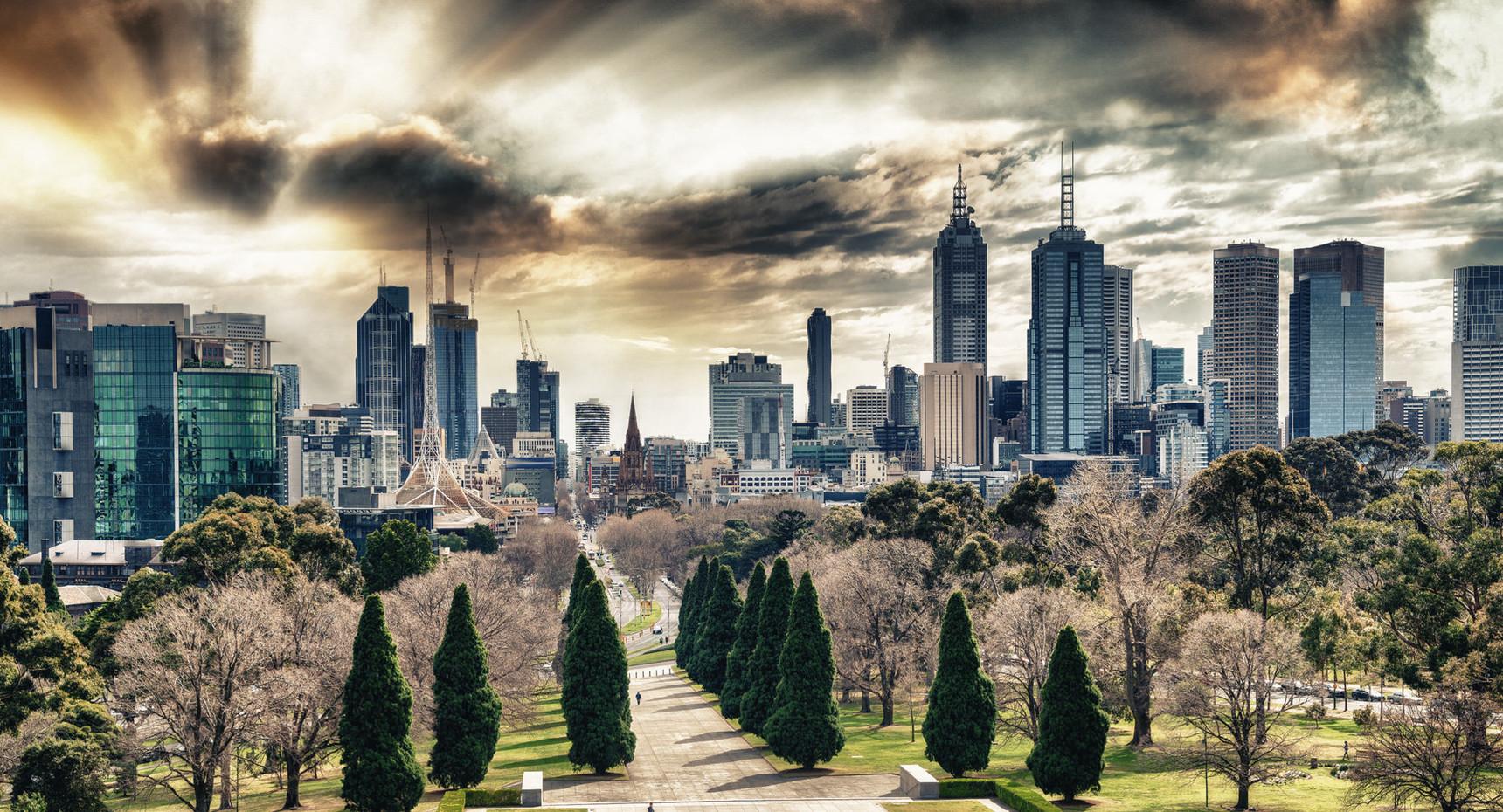 Melbourne skyline at dusk from city park