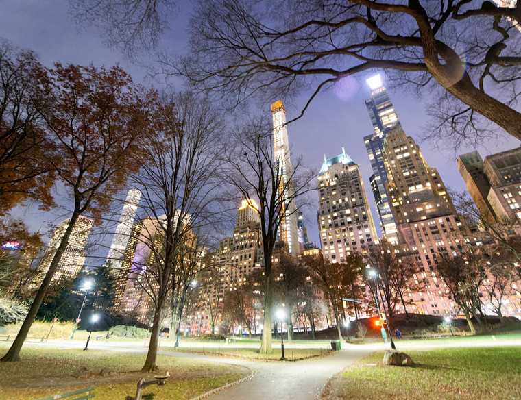Buildings of Manhattan from Central Park at night