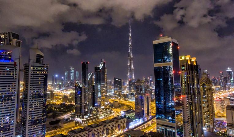 Aerial view of Downtown Dubai night skyline, UAE