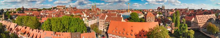 Nuremberg aerial skyline, Germany