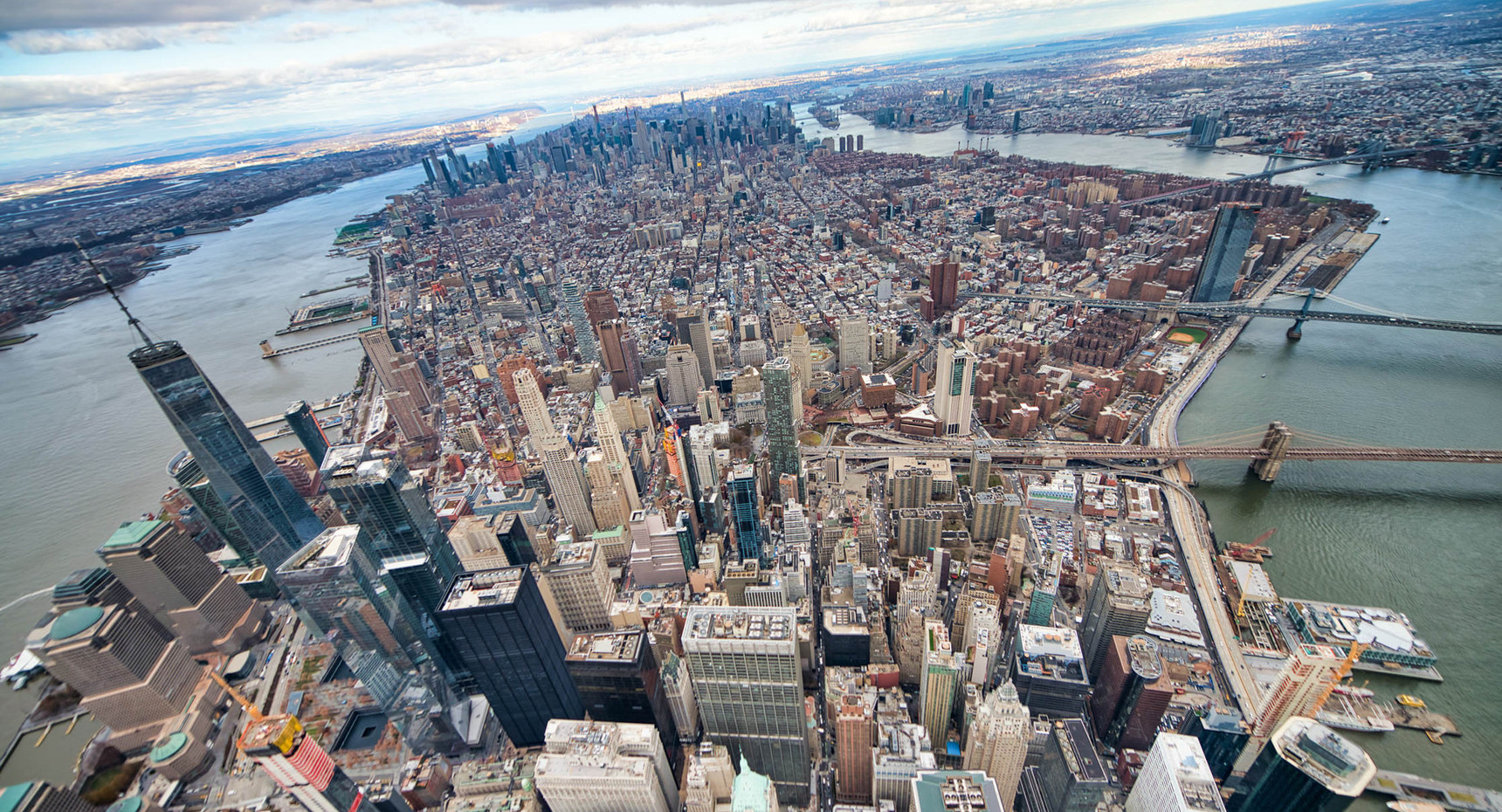 Helicopter view of Midtown Manhattan