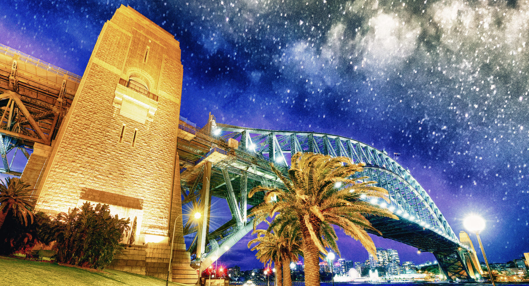 Sydney Harbor Bridge on a starry night