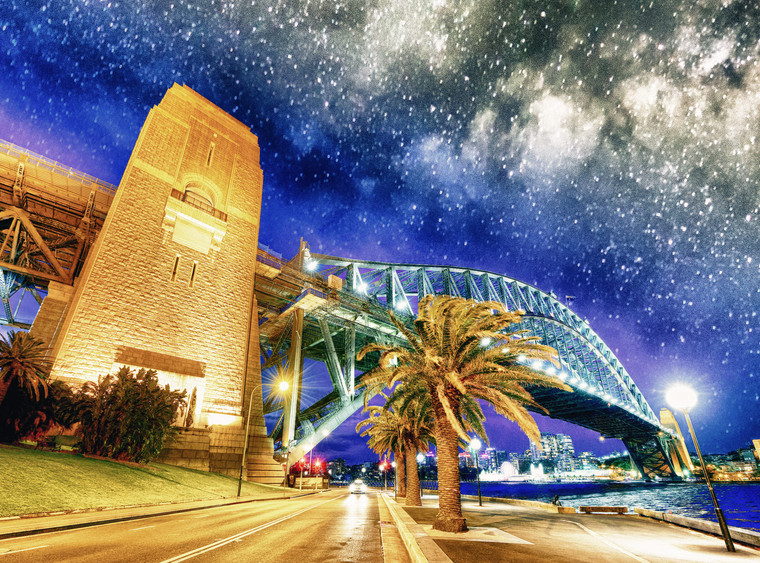 Sydney Harbor Bridge on a starry night