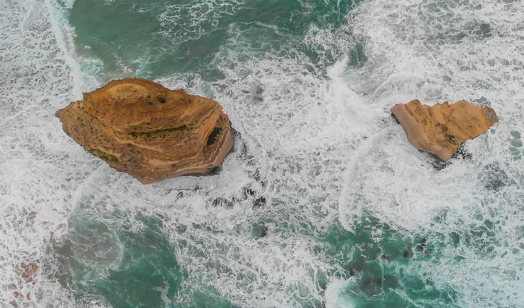 Overhead aerial view of Twelve Apostles rocks, Australia