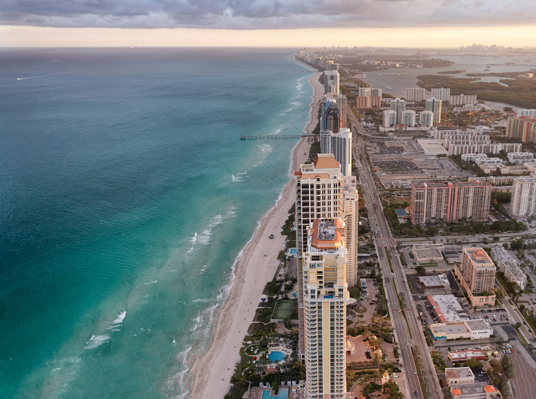 Aerial view of Miami Beach Skyline