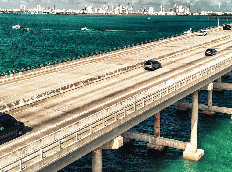 Aerial view of Rickenbacker Causeway