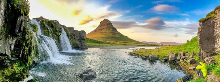 Kirkjufellfoss Waterfalls and Mountain in summer season, Iceland