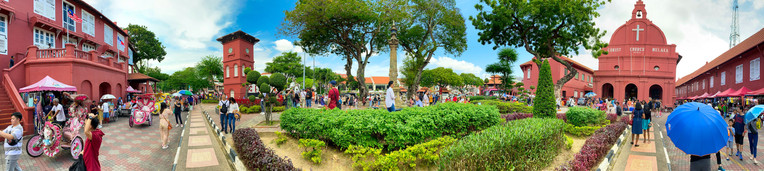 Melaka city center with tourists, Malaysia