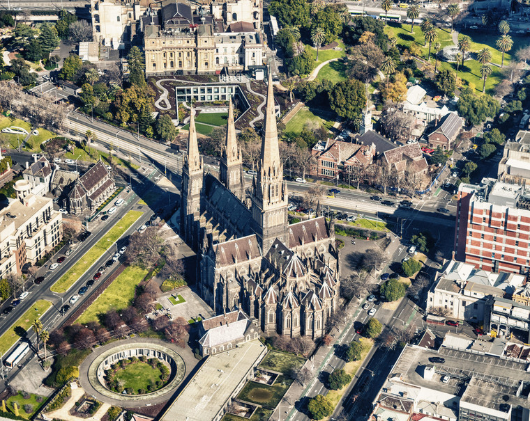 Aerial view of Melbourne St Paul Cathedral