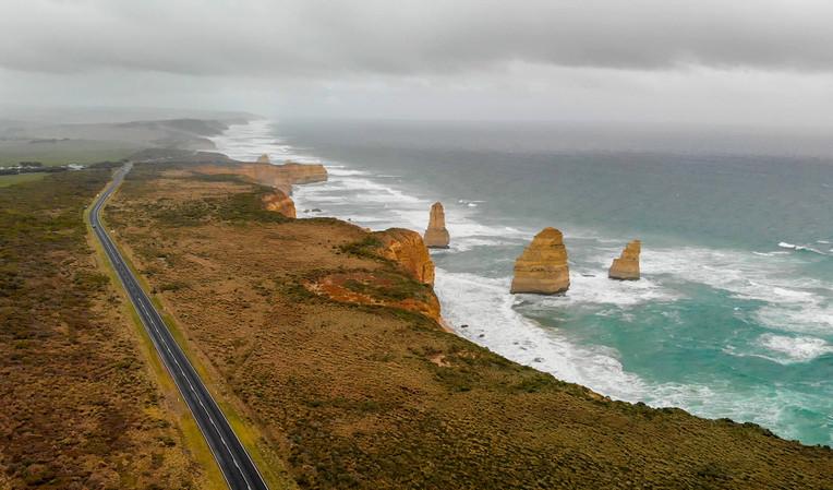 Aerial view of Twelve Apostles on a stormy afternoon, Australia