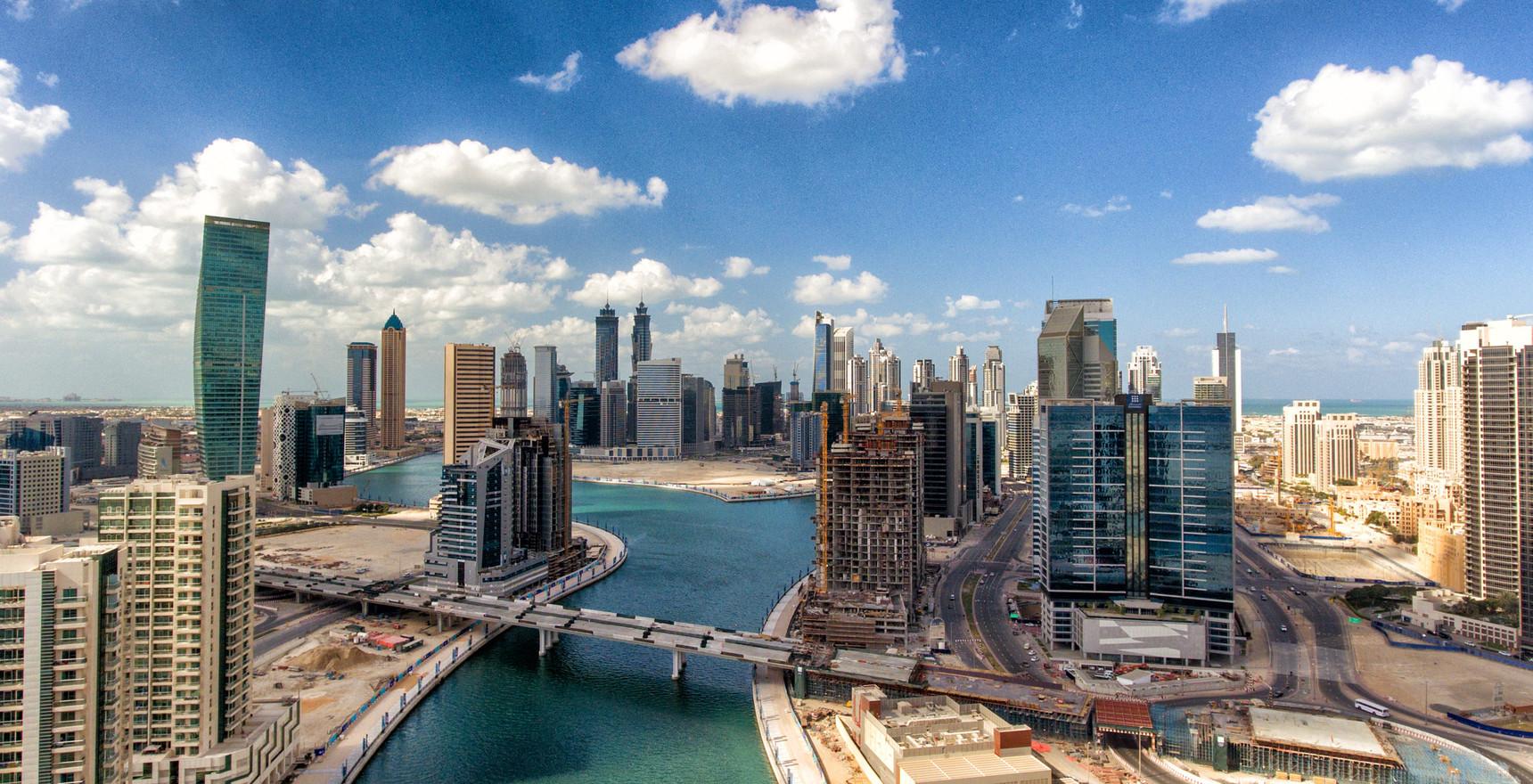 Aerial view of Downtown Dubai skyline, UAE