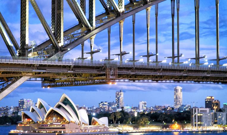 Sydney Harbor Bridge and Opera House at sunset, Australia