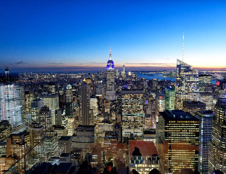 Aerial night view of Midtown Manhattan