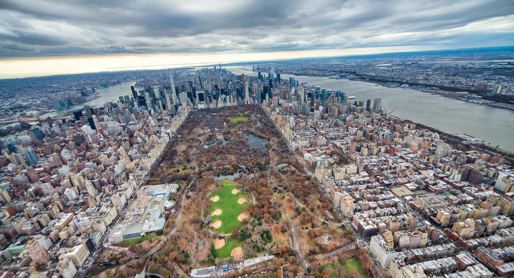 Helicopter view of Manhattan and Central Park