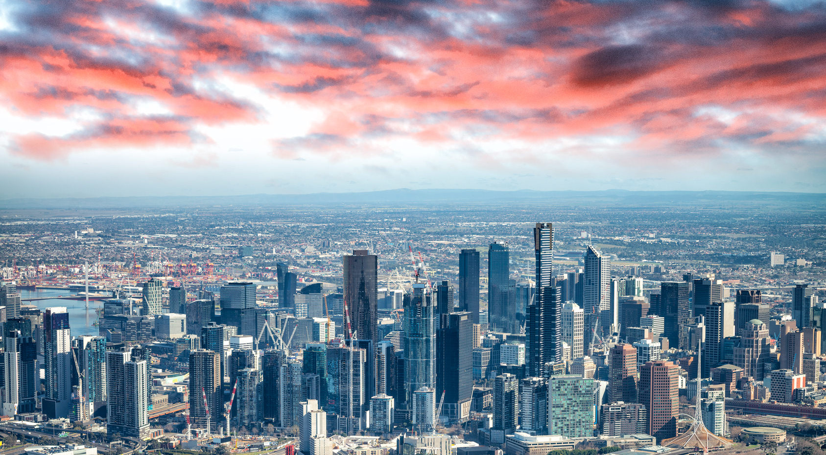 Aerial view of Melbourne skyline at sunset