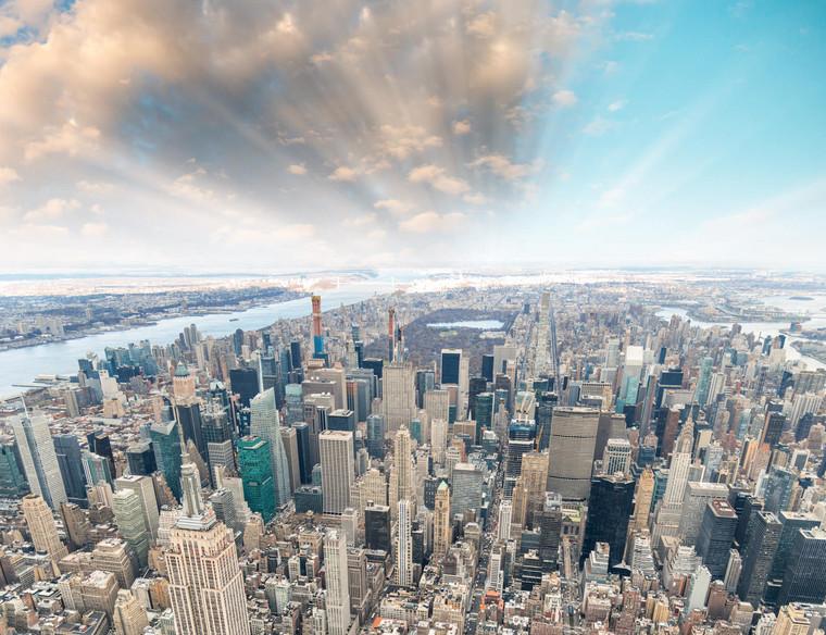 Helicopter view of Manhattan skyline
