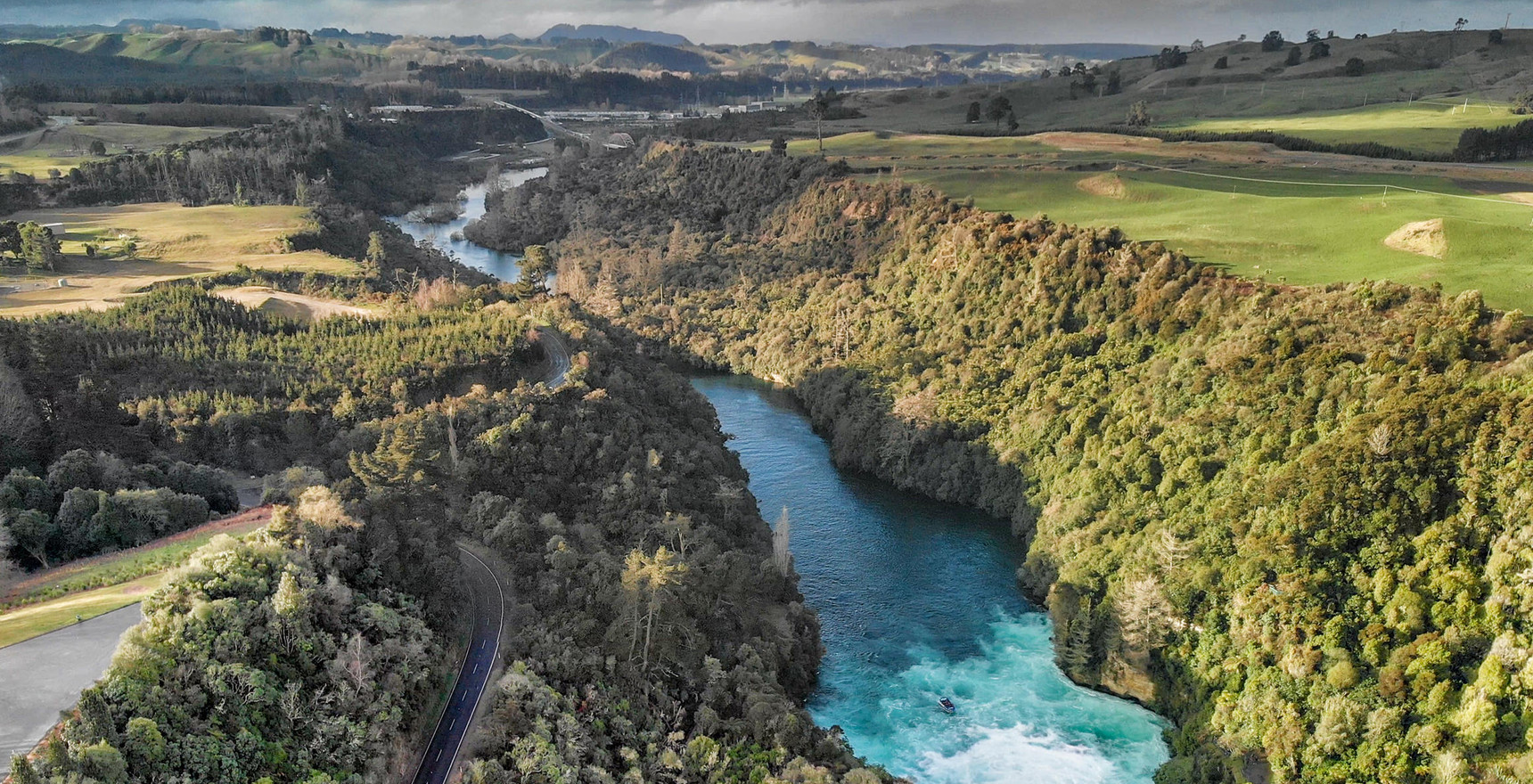 Aerial view of Huka Falls in Taupo, New Zealand