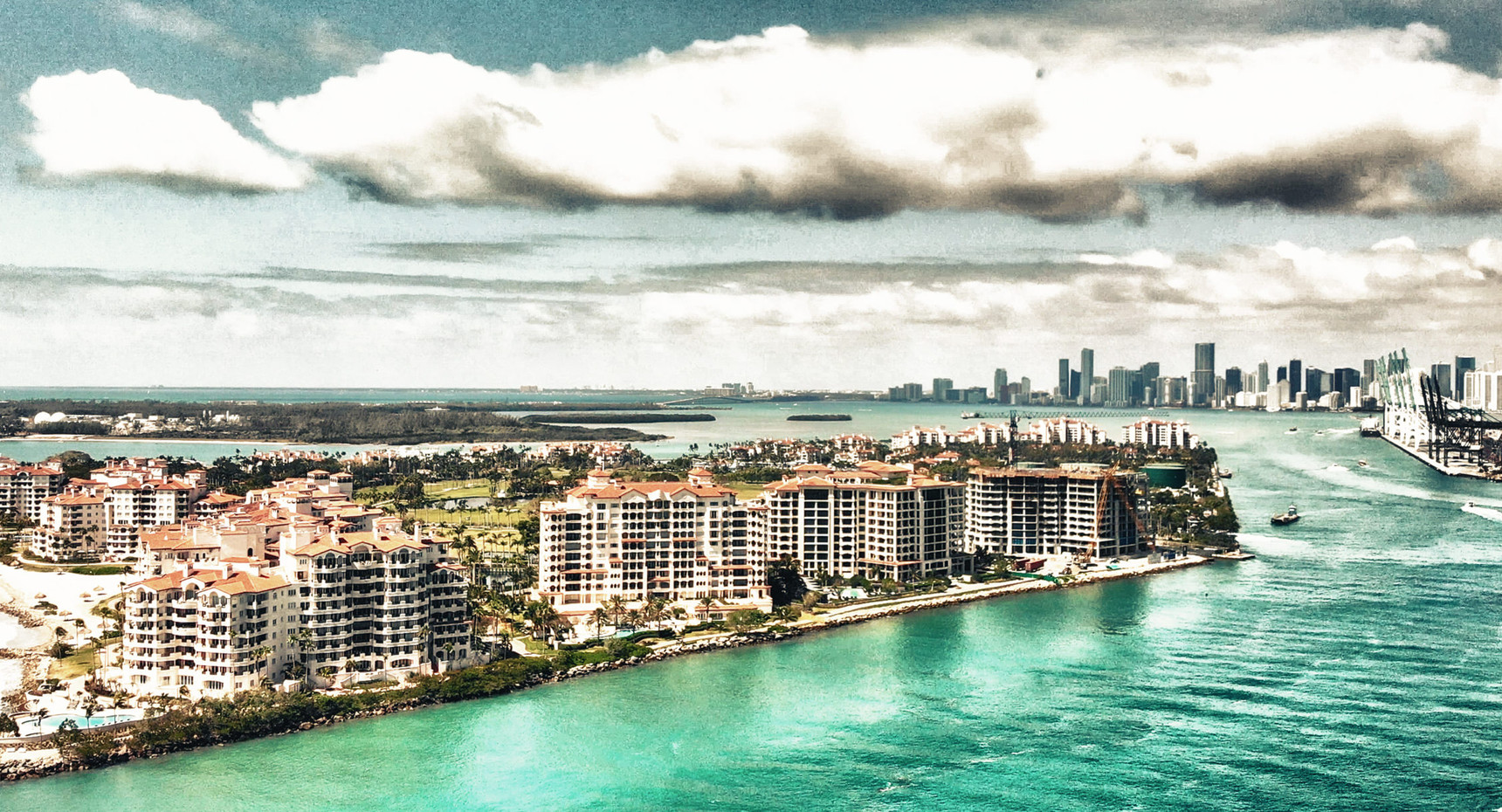Aerial view of Fisher Island
