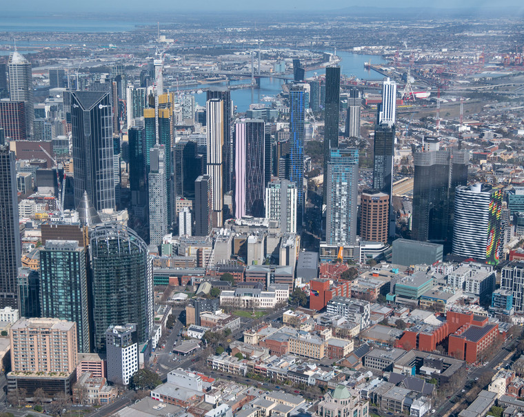 Aerial view of Melbourne skyline