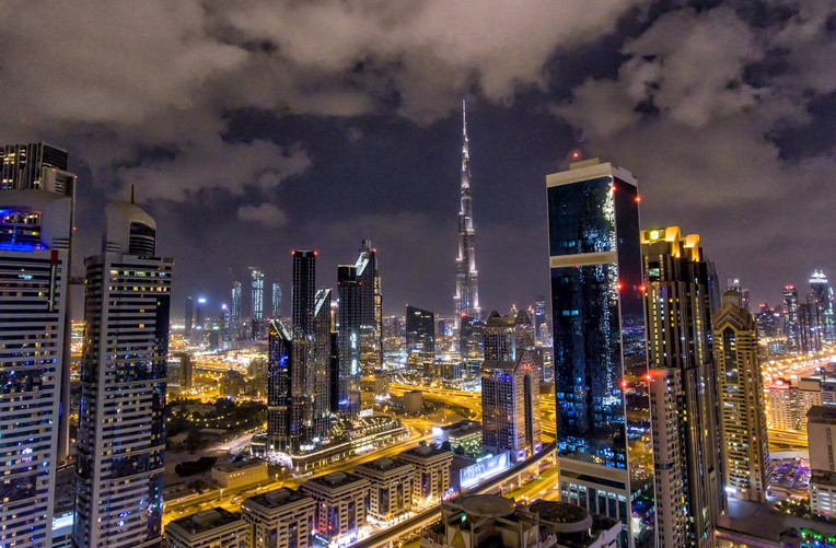 Downtown Dubai at night, UAE