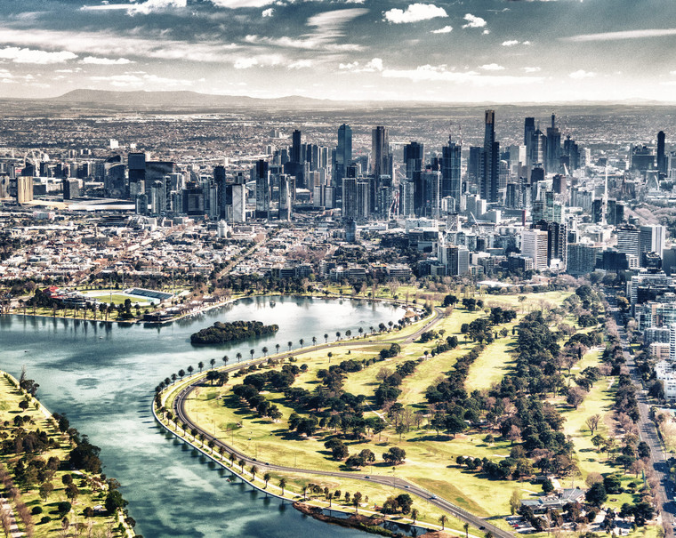 Aerial view of Melbourne skyline with city river
