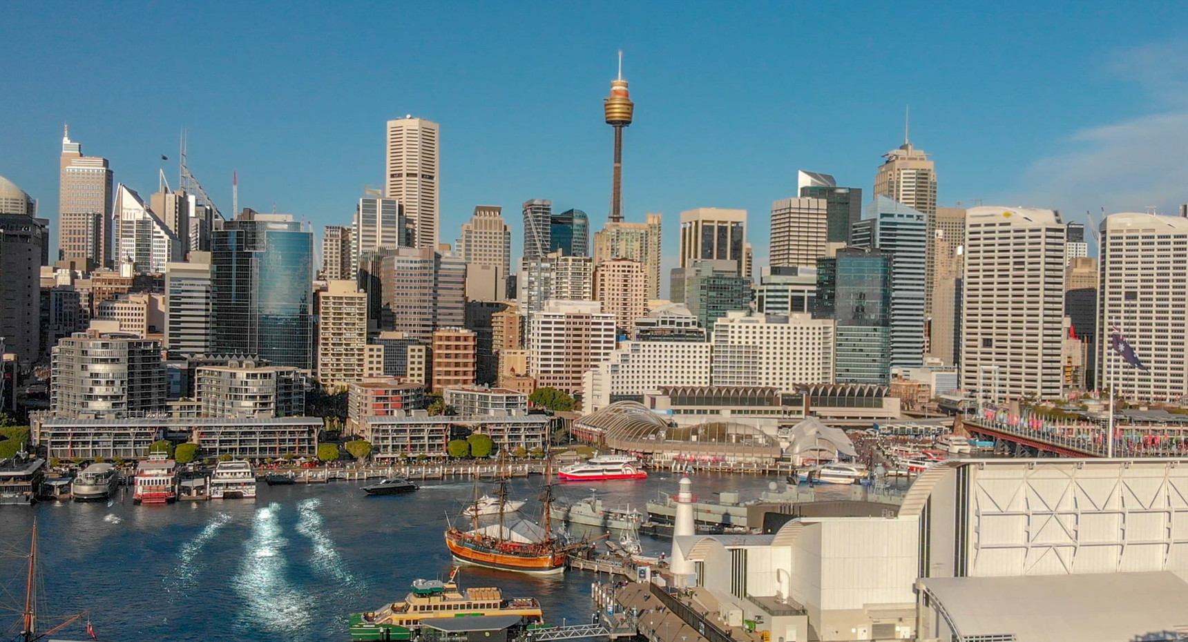Darling Harbour skyline aerial view