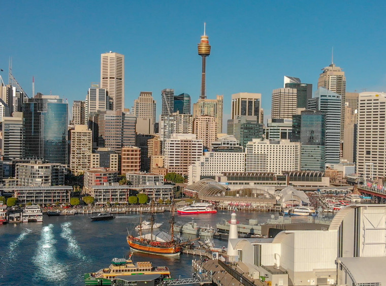 Darling Harbour skyline aerial view